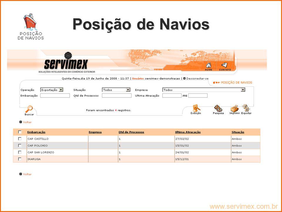 Posição de Navios www.servimex.com.br