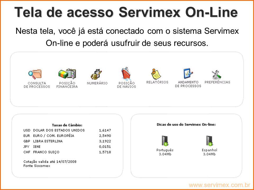 Tela de acesso Servimex On-Line