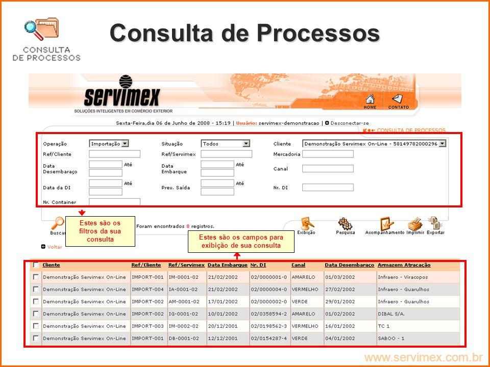 Consulta de Processos www.servimex.com.br
