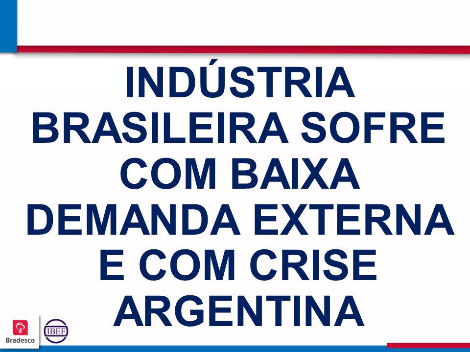 INDÚSTRIA BRASILEIRA SOFRE COM BAIXA DEMANDA EXTERNA E COM CRISE ARGENTINA