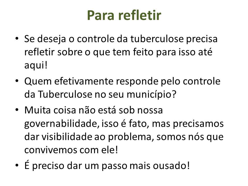 Para refletir Se deseja o controle da tuberculose precisa refletir sobre o que tem feito para isso até aqui!