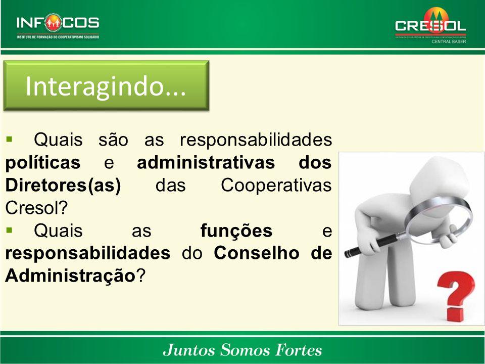 Interagindo... Quais são as responsabilidades políticas e administrativas dos Diretores(as) das Cooperativas Cresol