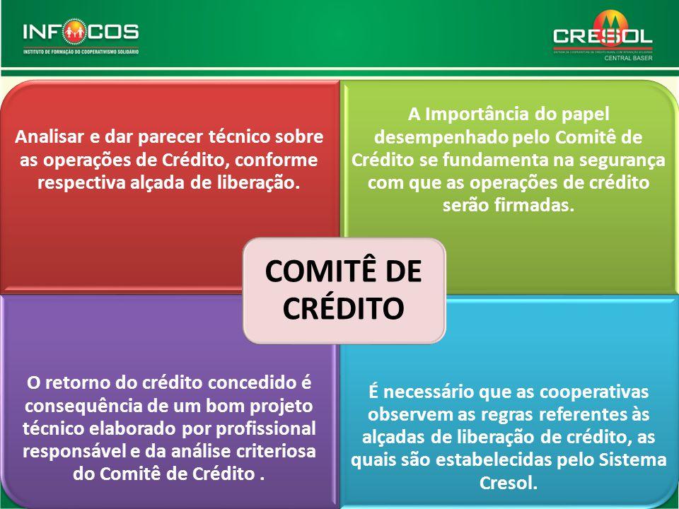 COMITÊ DE CRÉDITO Analisar e dar parecer técnico sobre as operações de Crédito, conforme respectiva alçada de liberação.