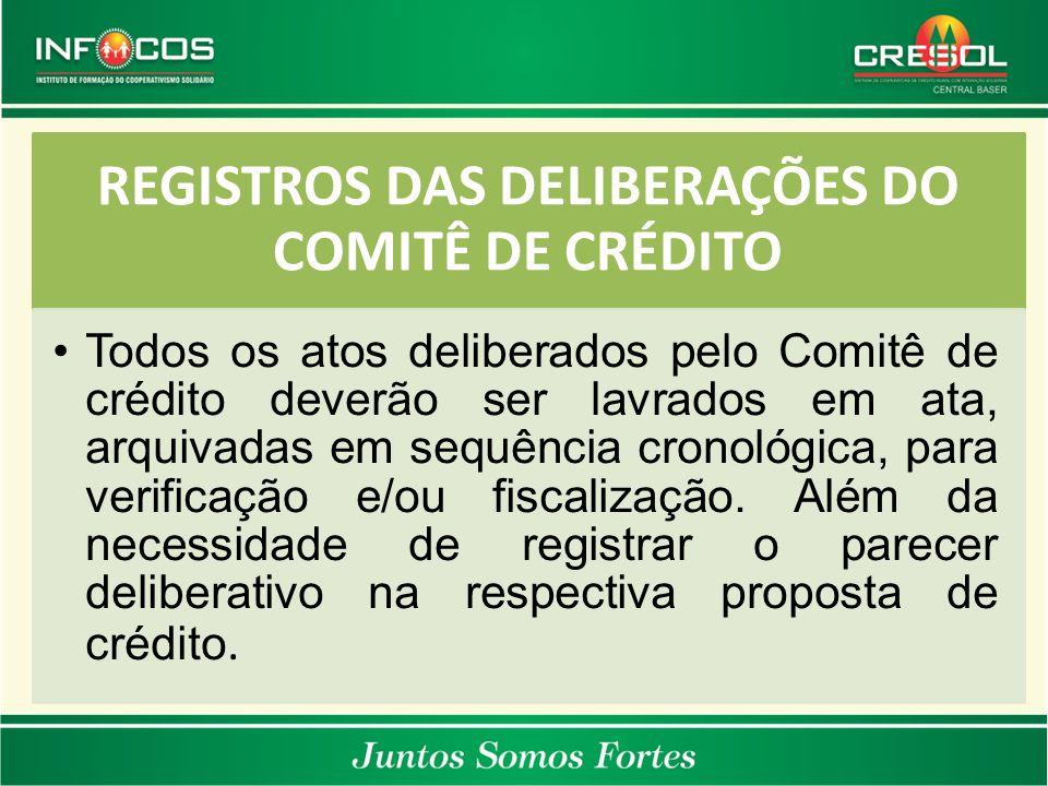 REGISTROS DAS DELIBERAÇÕES DO COMITÊ DE CRÉDITO