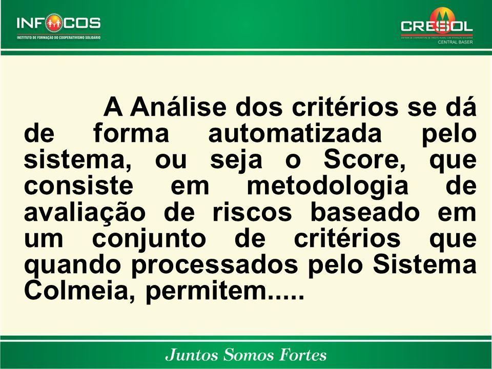 A Análise dos critérios se dá de forma automatizada pelo sistema, ou seja o Score, que consiste em metodologia de avaliação de riscos baseado em um conjunto de critérios que quando processados pelo Sistema Colmeia, permitem.....