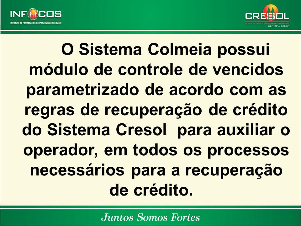 O Sistema Colmeia possui módulo de controle de vencidos parametrizado de acordo com as regras de recuperação de crédito do Sistema Cresol para auxiliar o operador, em todos os processos necessários para a recuperação de crédito.