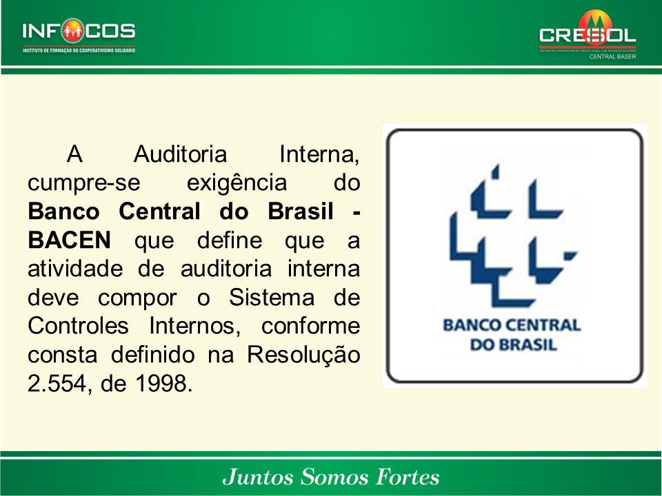 A Auditoria Interna, cumpre-se exigência do Banco Central do Brasil - BACEN que define que a atividade de auditoria interna deve compor o Sistema de Controles Internos, conforme consta definido na Resolução 2.554, de 1998.