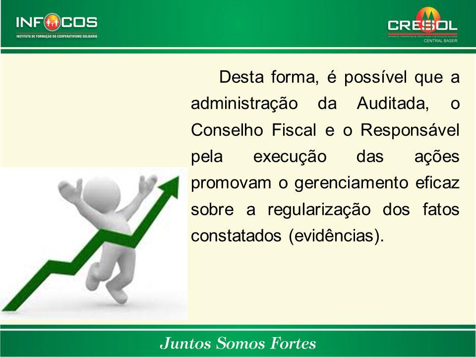 Desta forma, é possível que a administração da Auditada, o Conselho Fiscal e o Responsável pela execução das ações promovam o gerenciamento eficaz sobre a regularização dos fatos constatados (evidências).