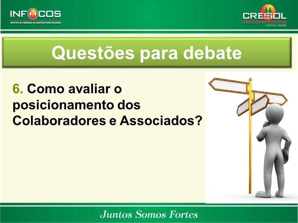 Questões para debate 6. Como avaliar o posicionamento dos Colaboradores e Associados