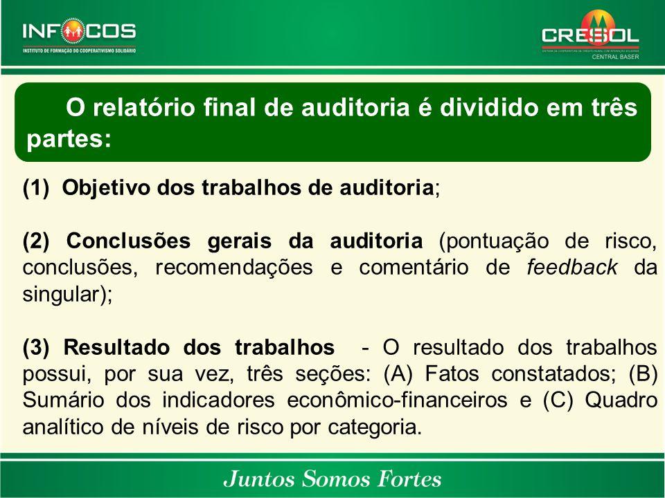 O relatório final de auditoria é dividido em três partes:
