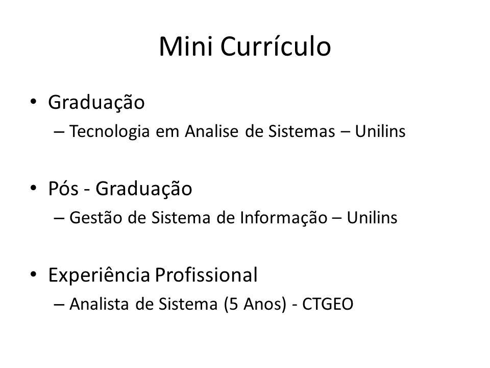 Mini Currículo Graduação Pós - Graduação Experiência Profissional