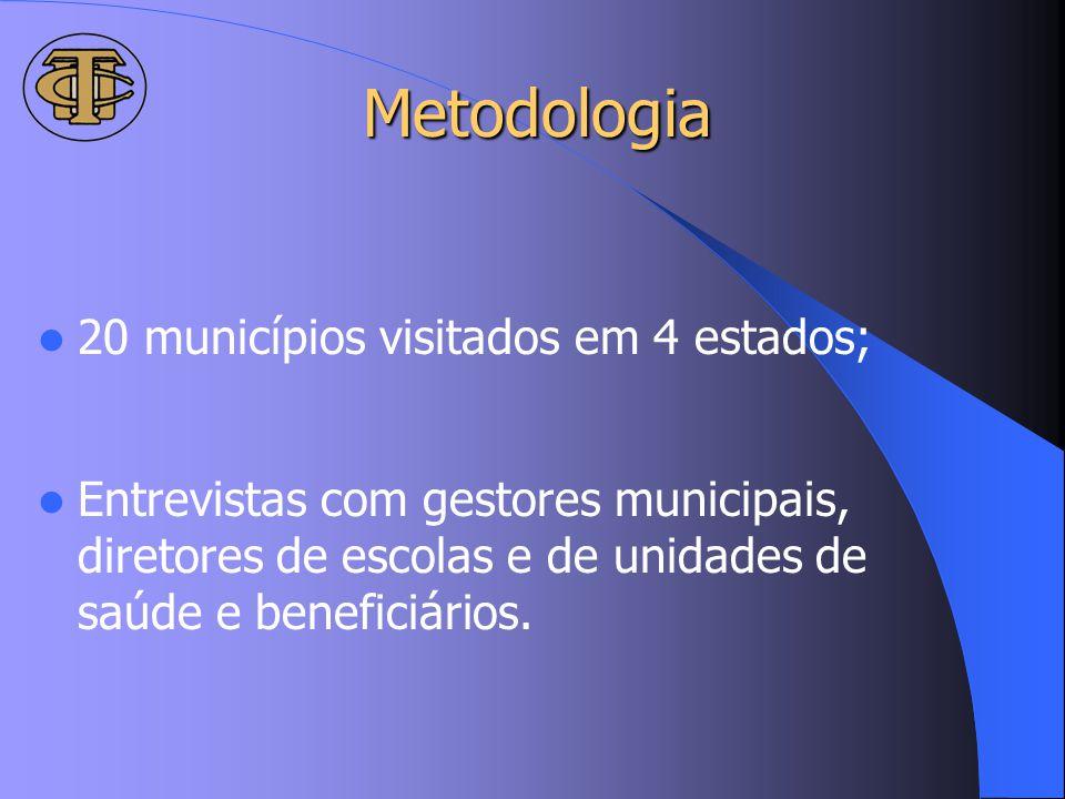 Metodologia 20 municípios visitados em 4 estados;
