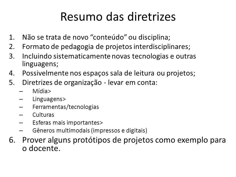 Resumo das diretrizes Não se trata de novo conteúdo ou disciplina; Formato de pedagogia de projetos interdisciplinares;