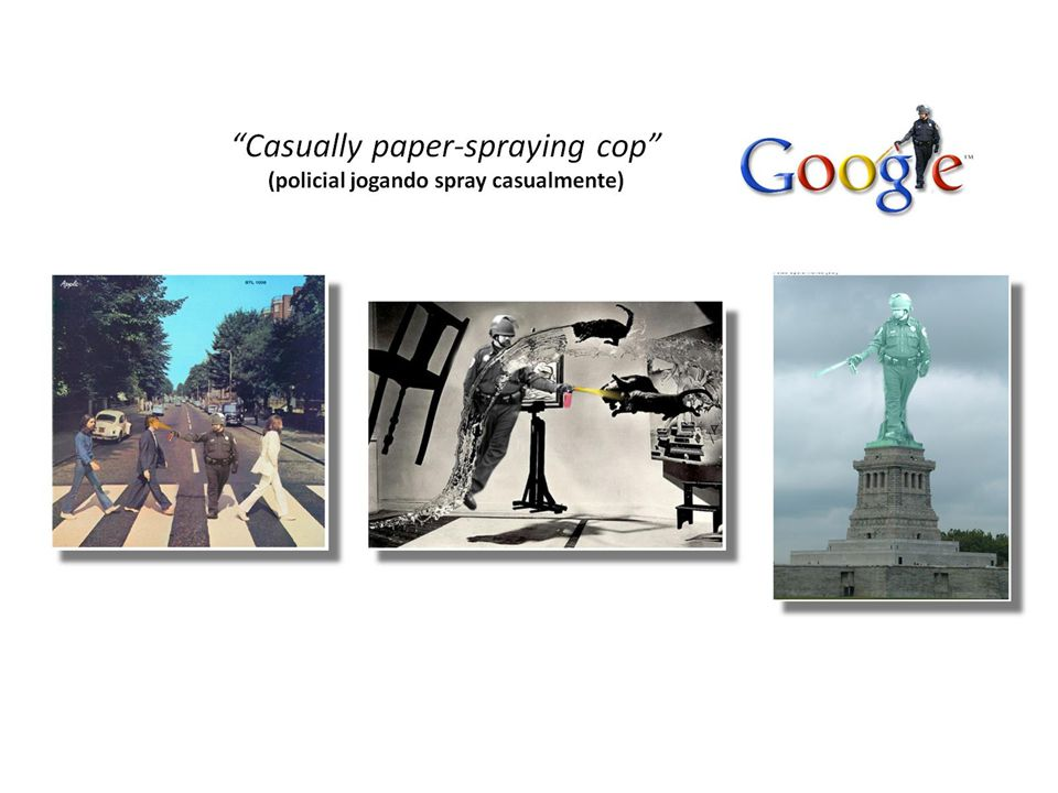 Casually paper-spraying cop (policial jogando spray casualmente)