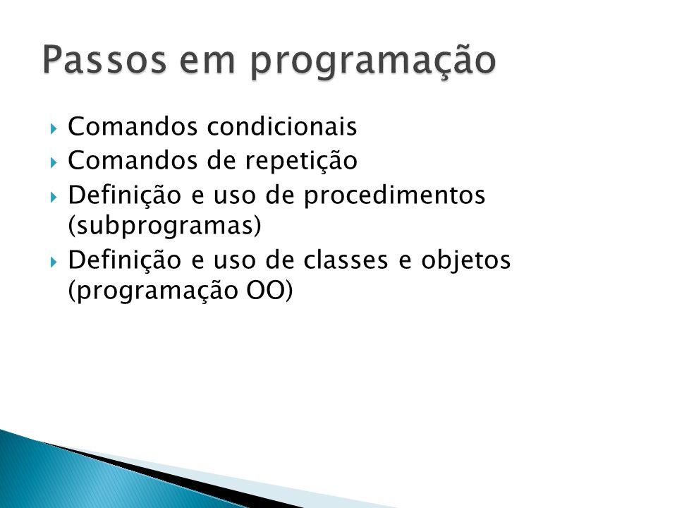 Passos em programação Comandos condicionais Comandos de repetição