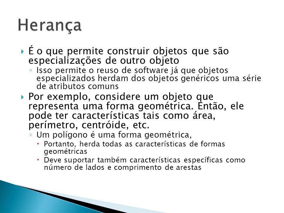 Herança É o que permite construir objetos que são especializações de outro objeto.