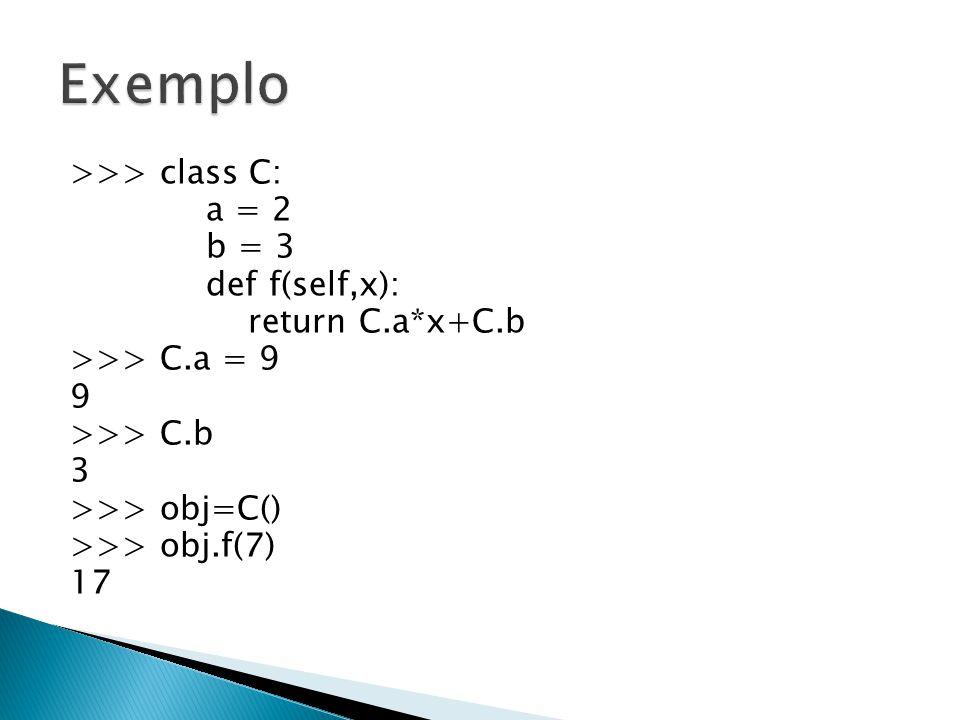 Exemplo >>> class C: a = 2 b = 3 def f(self,x): return C.a*x+C.b >>> C.a = 9 9 >>> C.b 3 >>> obj=C() >>> obj.f(7) 17