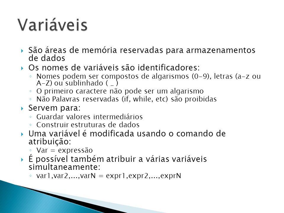 Variáveis São áreas de memória reservadas para armazenamentos de dados
