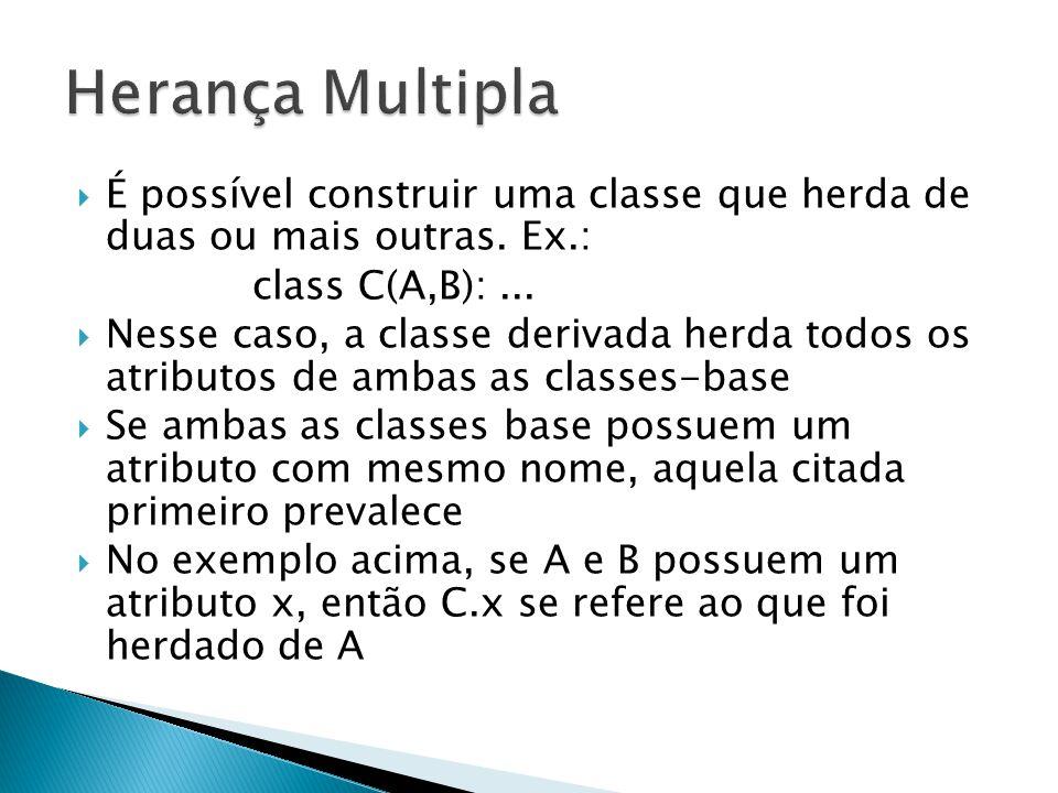 Herança Multipla É possível construir uma classe que herda de duas ou mais outras. Ex.: class C(A,B): ...
