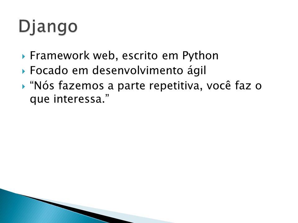 Django Framework web, escrito em Python Focado em desenvolvimento ágil