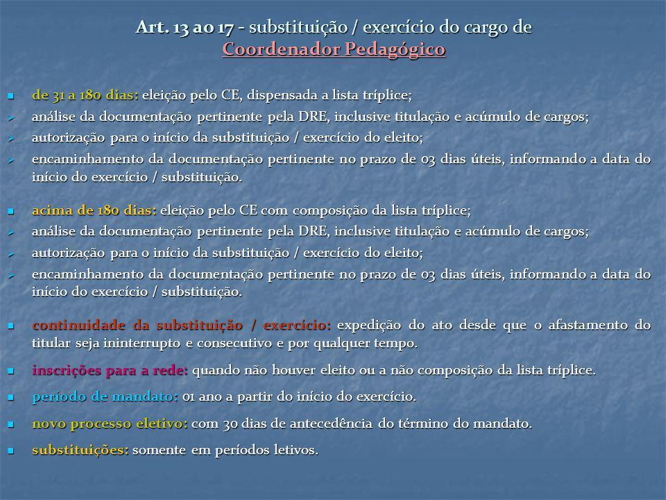 Art. 13 ao 17 - substituição / exercício do cargo de Coordenador Pedagógico