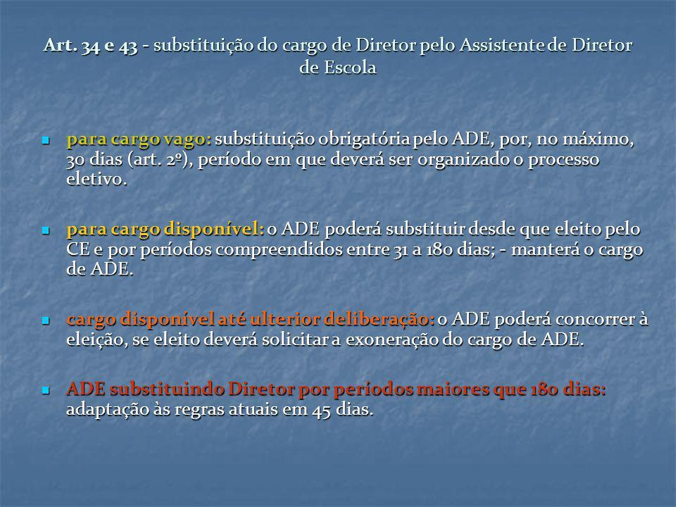 Art. 34 e 43 - substituição do cargo de Diretor pelo Assistente de Diretor de Escola