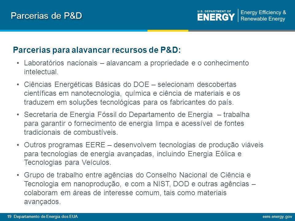 Parcerias de P&D Parcerias para alavancar recursos de P&D: