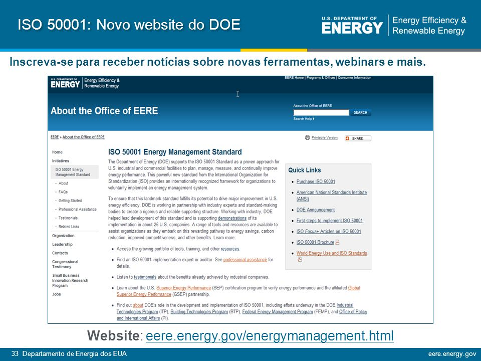 ISO 50001: Novo website do DOE