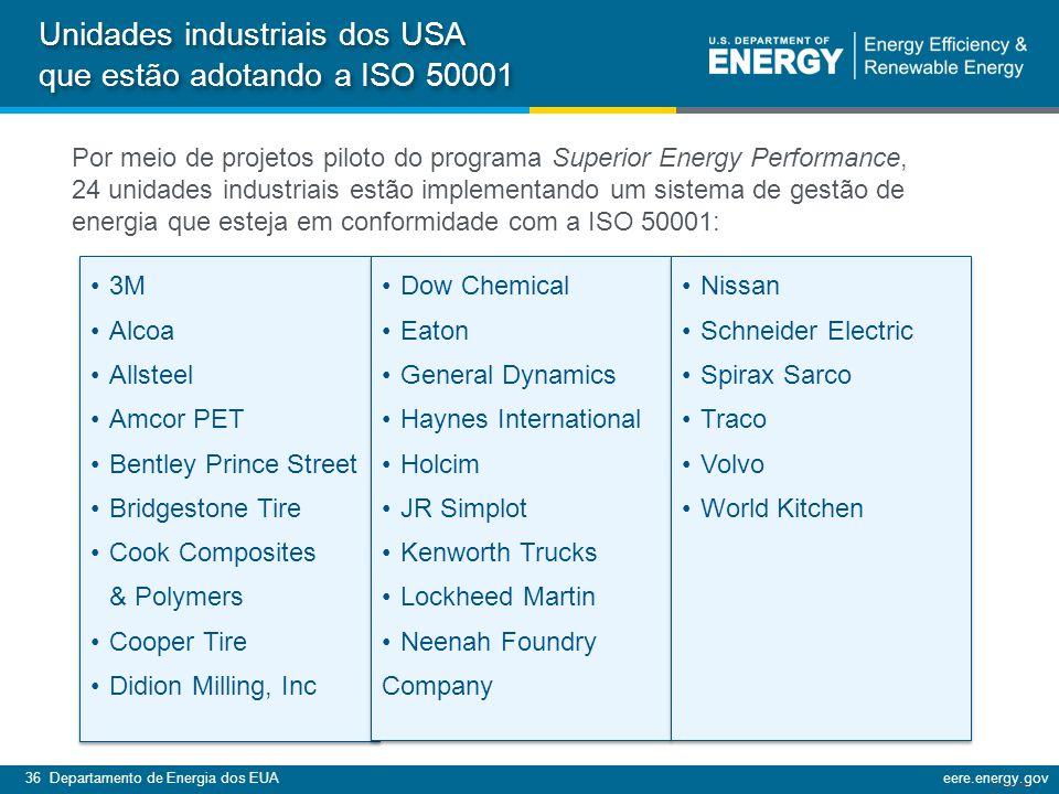 Unidades industriais dos USA que estão adotando a ISO 50001