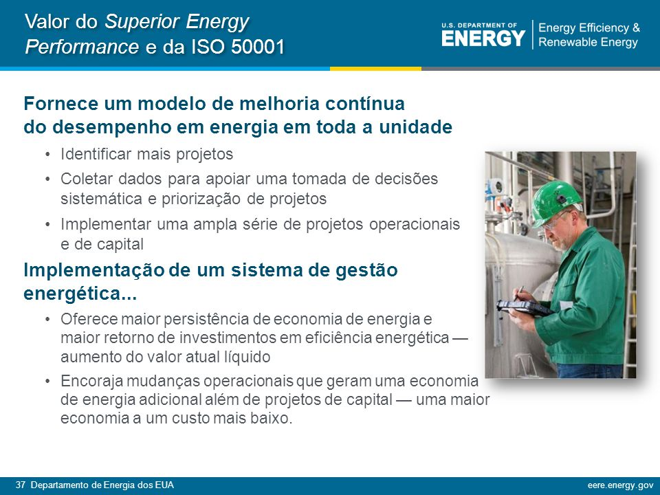 Valor do Superior Energy Performance e da ISO 50001