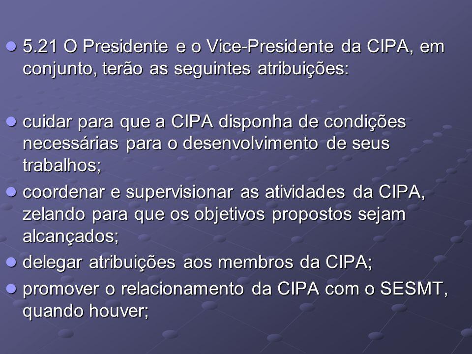 5.21 O Presidente e o Vice-Presidente da CIPA, em conjunto, terão as seguintes atribuições: