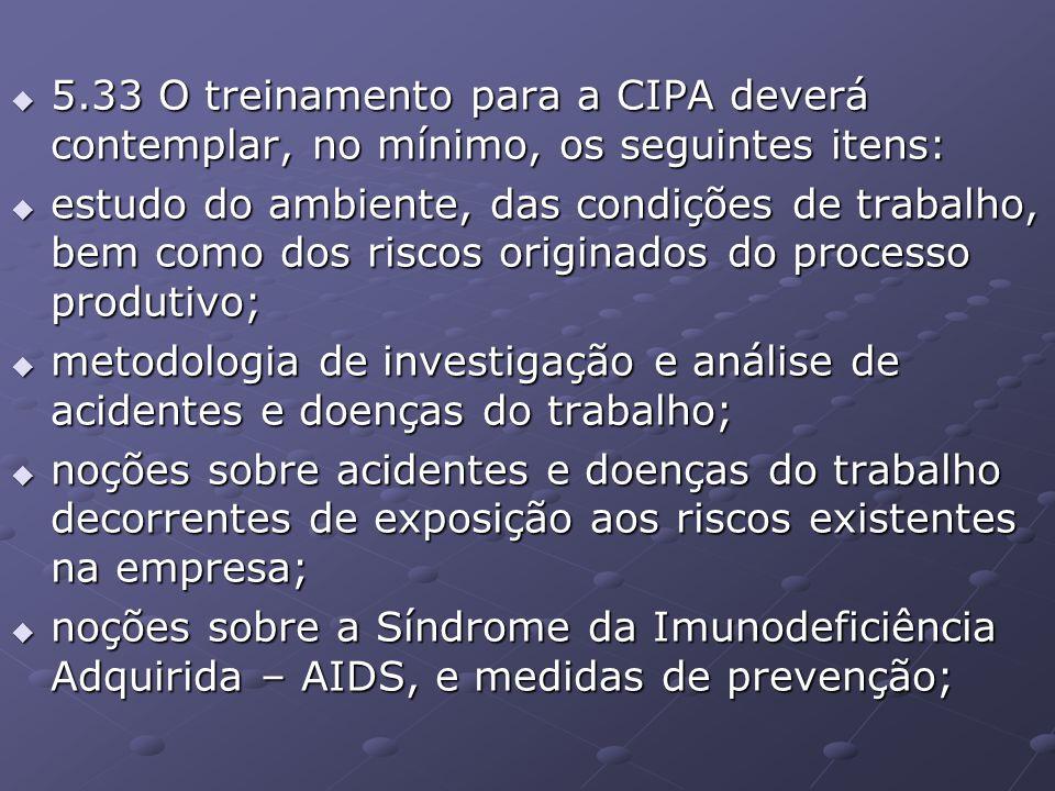 5.33 O treinamento para a CIPA deverá contemplar, no mínimo, os seguintes itens: