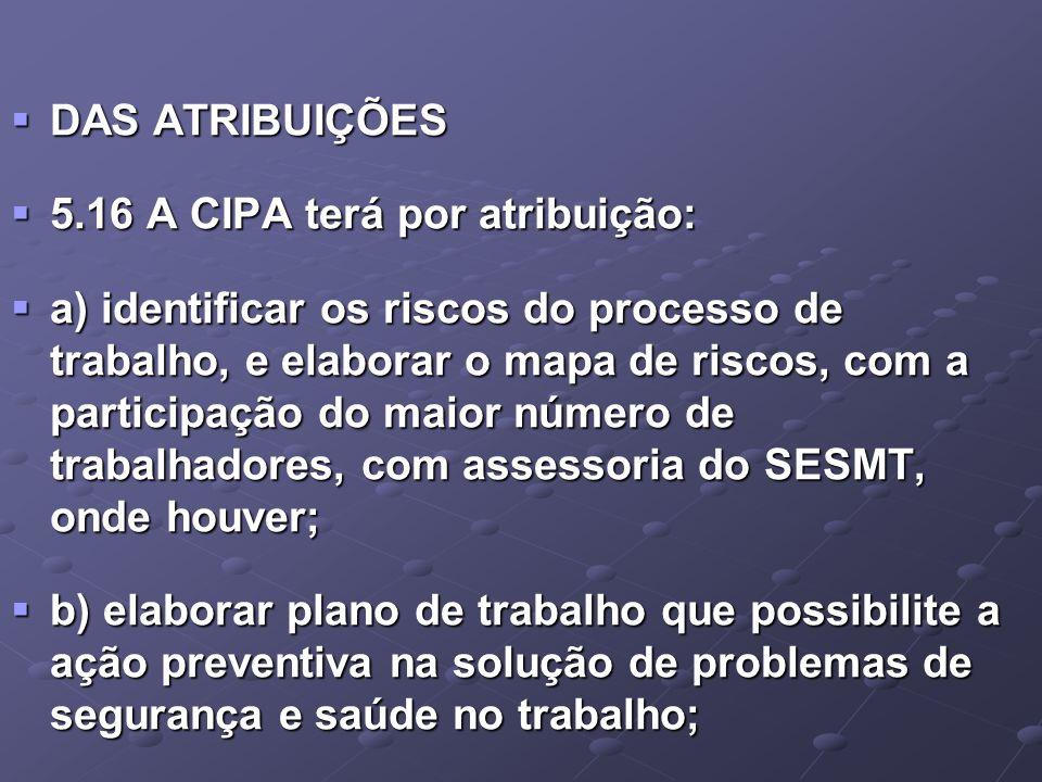 DAS ATRIBUIÇÕES 5.16 A CIPA terá por atribuição: