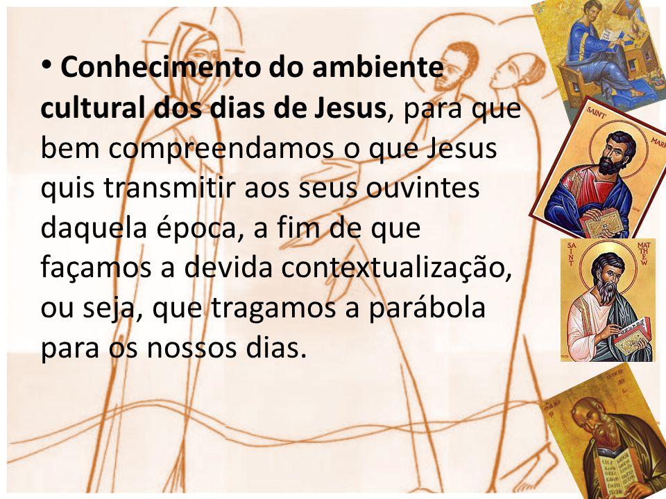 Conhecimento do ambiente cultural dos dias de Jesus, para que bem compreendamos o que Jesus quis transmitir aos seus ouvintes daquela época, a fim de que façamos a devida contextualização, ou seja, que tragamos a parábola para os nossos dias.