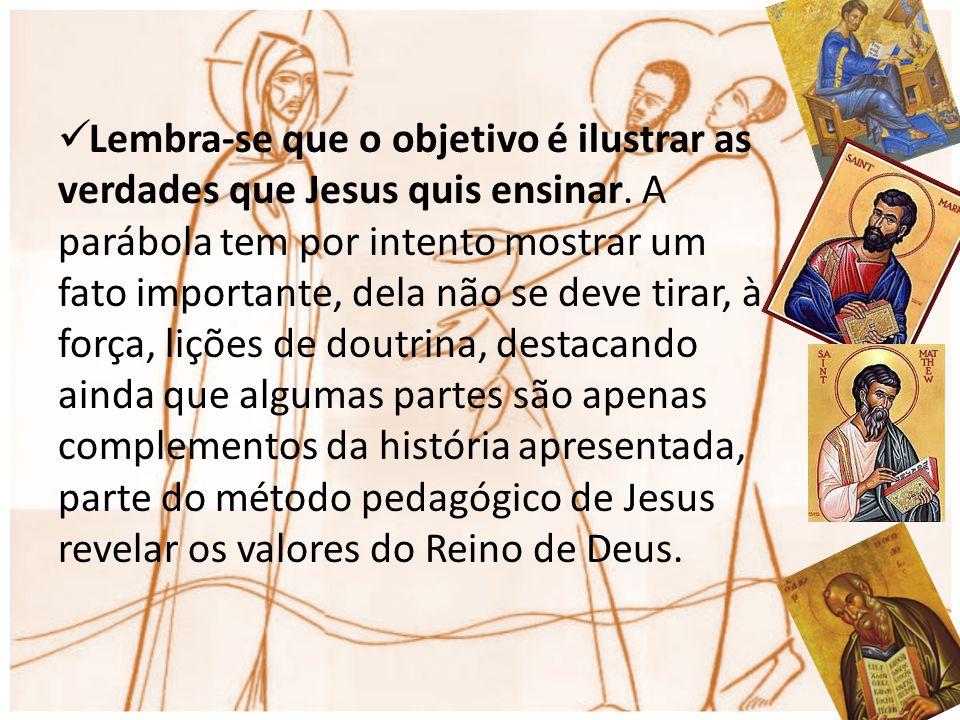 Lembra-se que o objetivo é ilustrar as verdades que Jesus quis ensinar