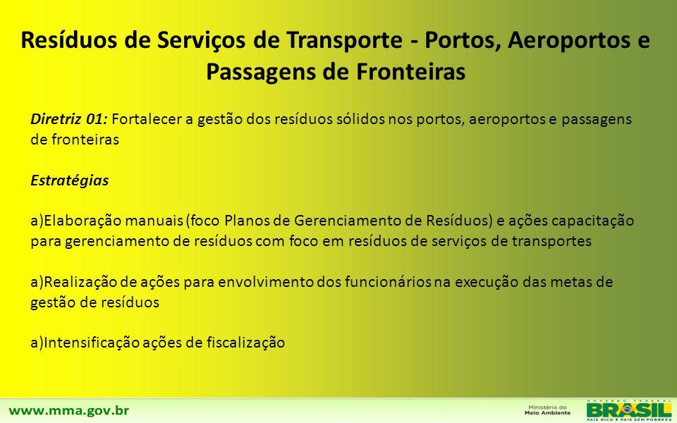 Resíduos de Serviços de Transporte - Portos, Aeroportos e Passagens de Fronteiras