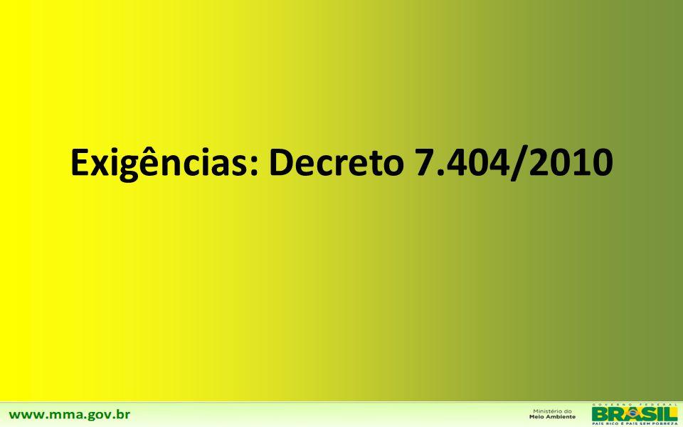 Exigências: Decreto 7.404/2010