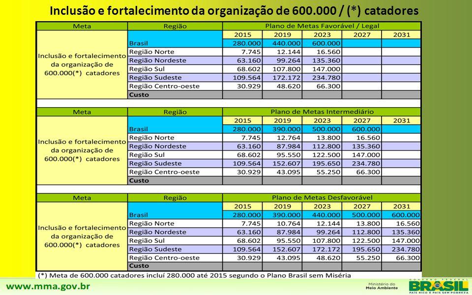 Inclusão e fortalecimento da organização de 600.000 / (*) catadores
