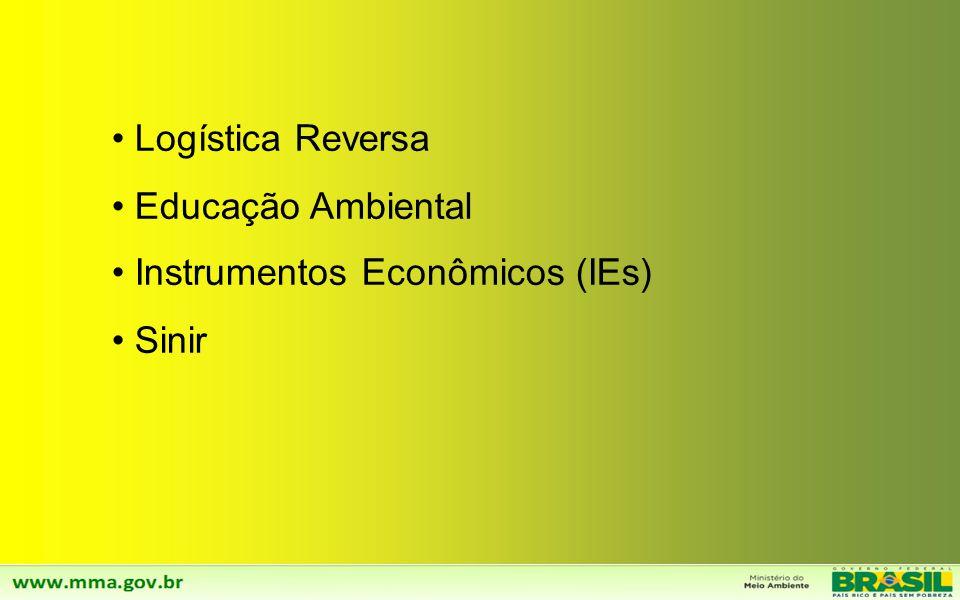 Logística Reversa Educação Ambiental Instrumentos Econômicos (IEs) Sinir
