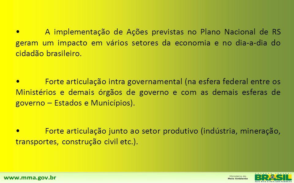 A implementação de Ações previstas no Plano Nacional de RS geram um impacto em vários setores da economia e no dia-a-dia do cidadão brasileiro.