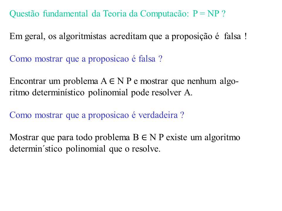 Questão fundamental da Teoria da Computacão: P = NP
