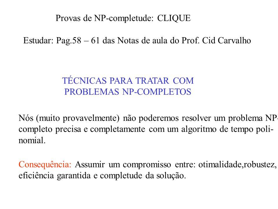 Provas de NP-completude: CLIQUE