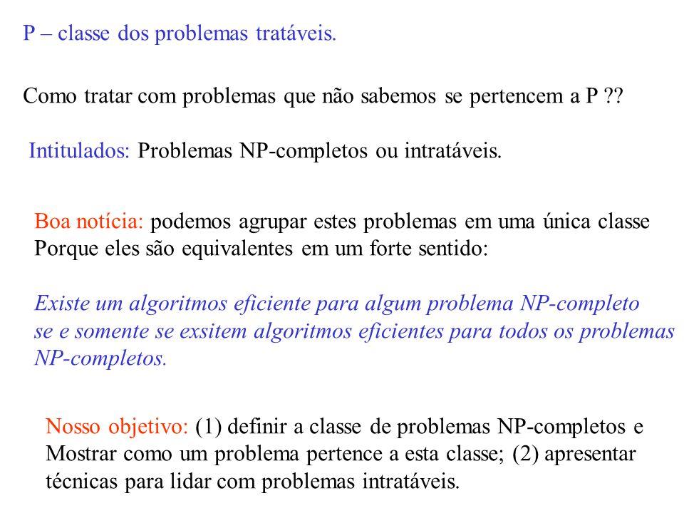 P – classe dos problemas tratáveis.