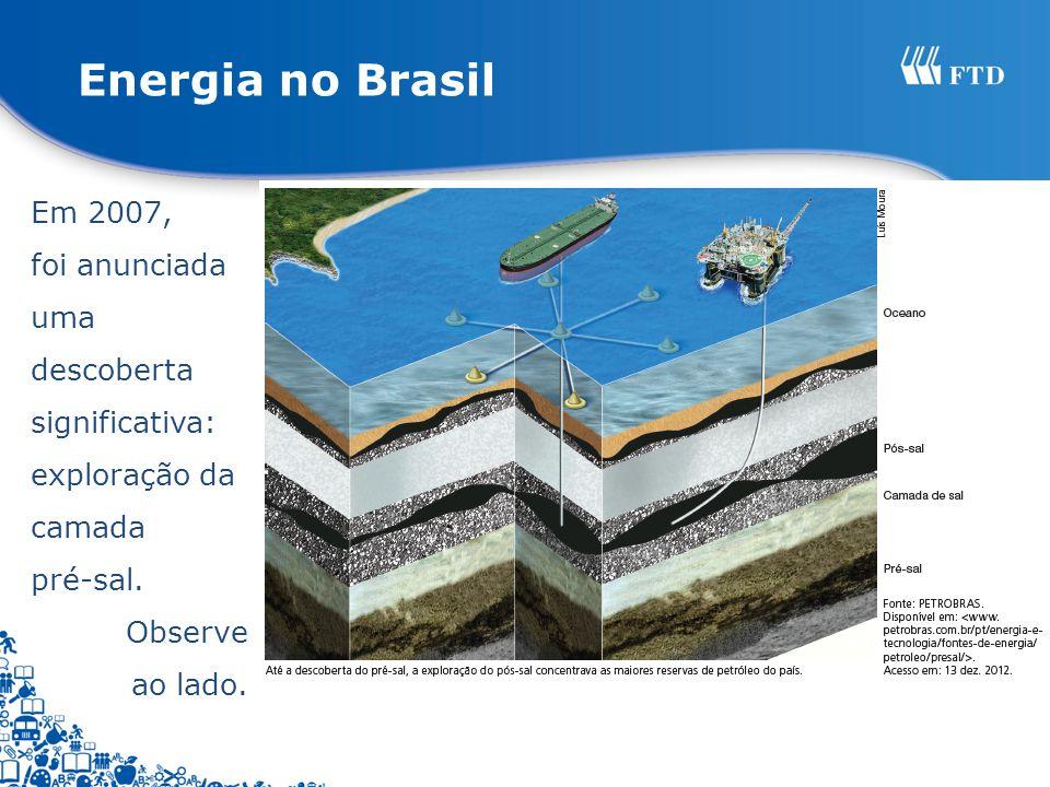 Energia no Brasil Em 2007, foi anunciada uma descoberta significativa: exploração da camada. pré-sal.