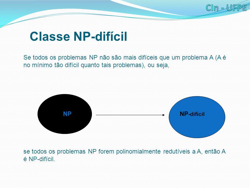 Classe NP-difícil Se todos os problemas NP não são mais difíceis que um problema A (A é no mínimo tão difícil quanto tais problemas), ou seja,