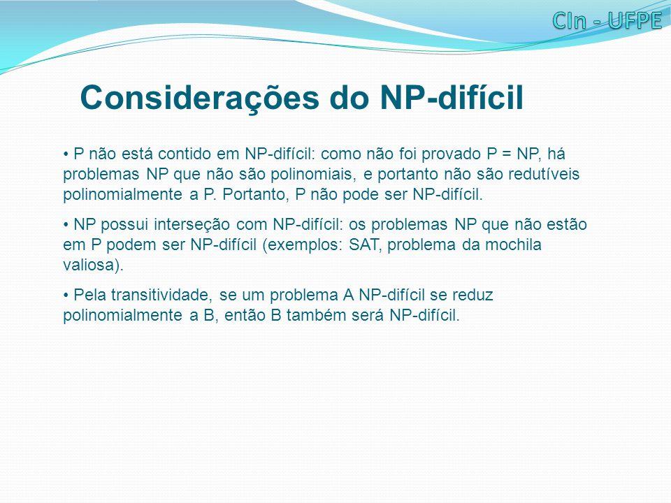 Considerações do NP-difícil
