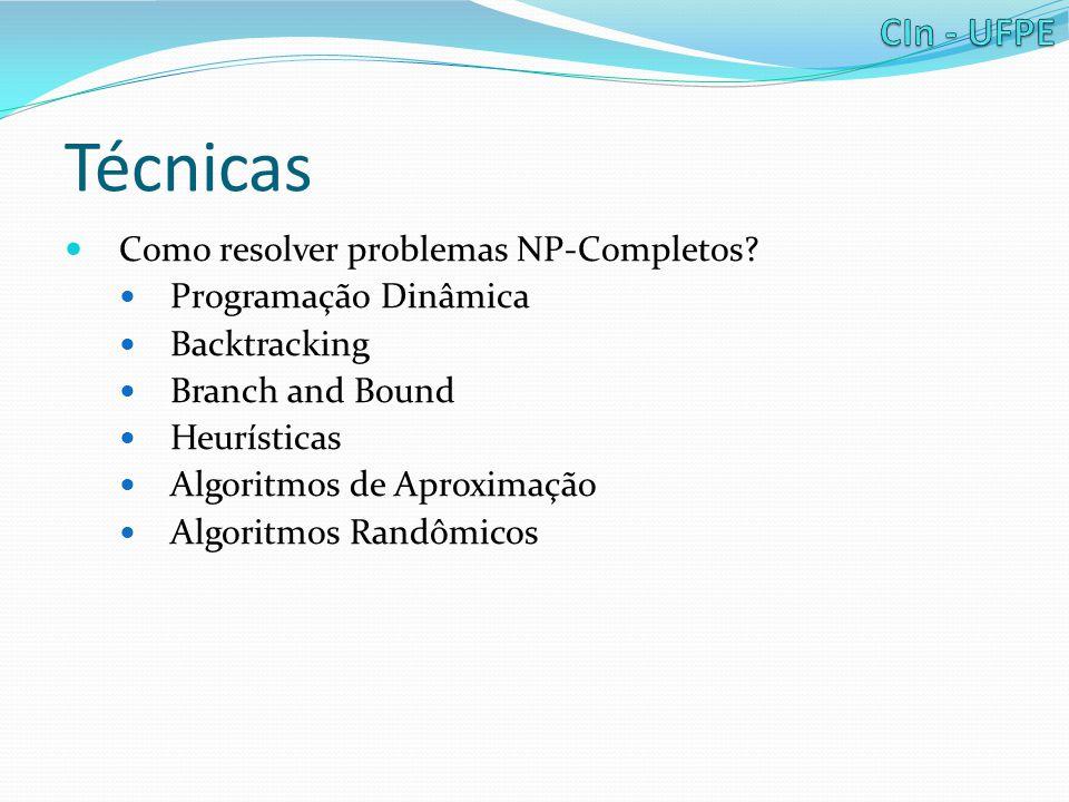 Técnicas Como resolver problemas NP-Completos Programação Dinâmica