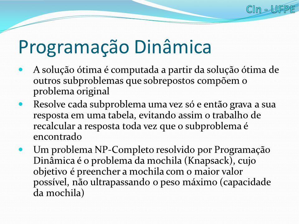 Programação Dinâmica A solução ótima é computada a partir da solução ótima de outros subproblemas que sobrepostos compõem o problema original.