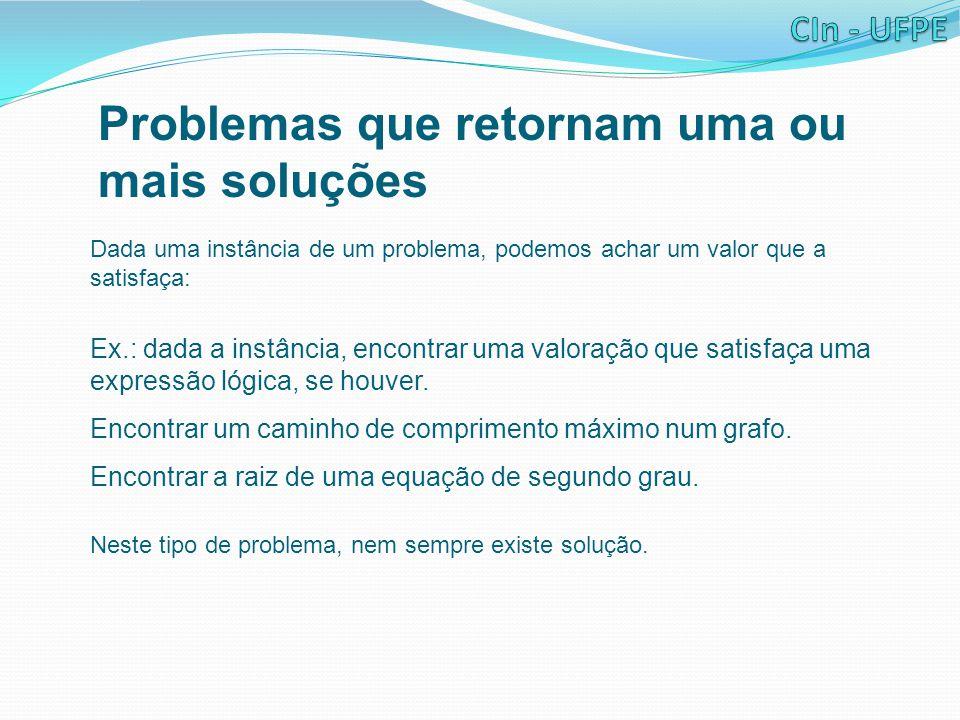 Problemas que retornam uma ou mais soluções