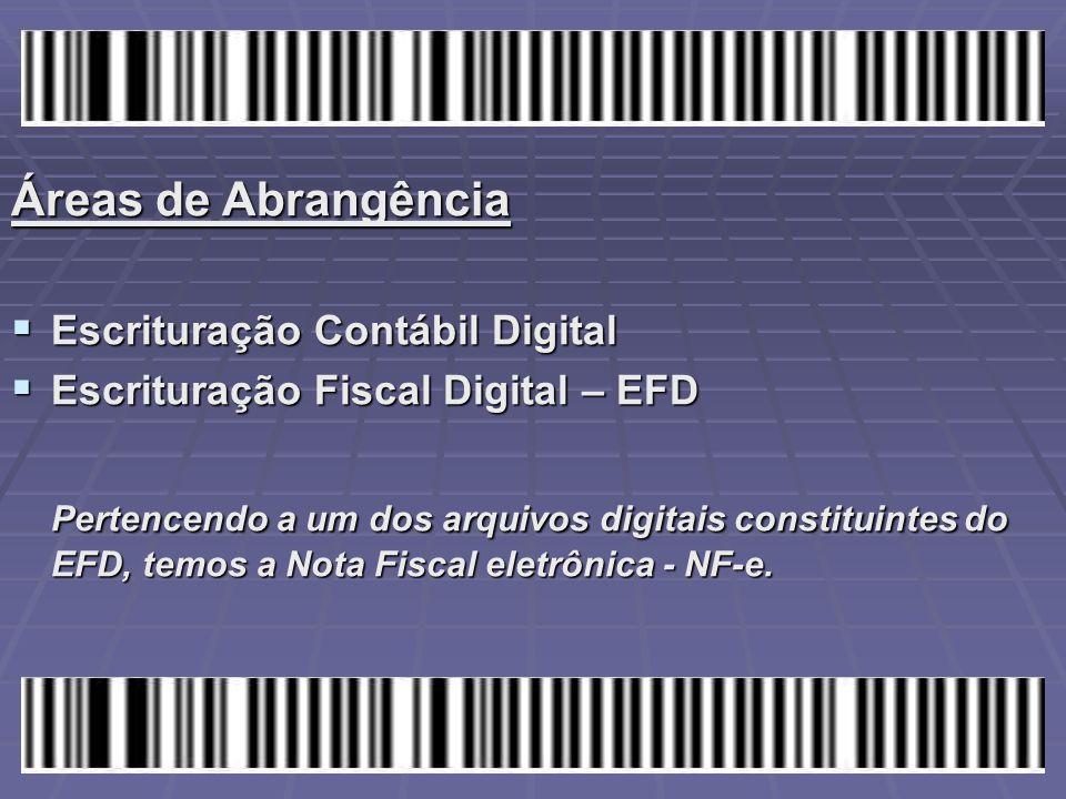 Áreas de Abrangência Escrituração Contábil Digital. Escrituração Fiscal Digital – EFD.